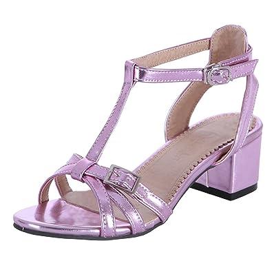 fb51e353e7 Oasap Women's Peep Toe Hollow Out T-Strap Block Heels Sandals, Purple  EURO40/