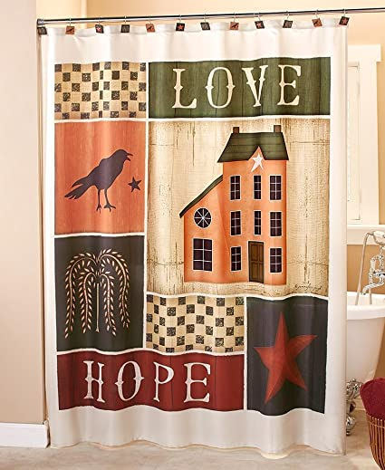 The Lakeside Collection Primitive Collage Shower Curtain