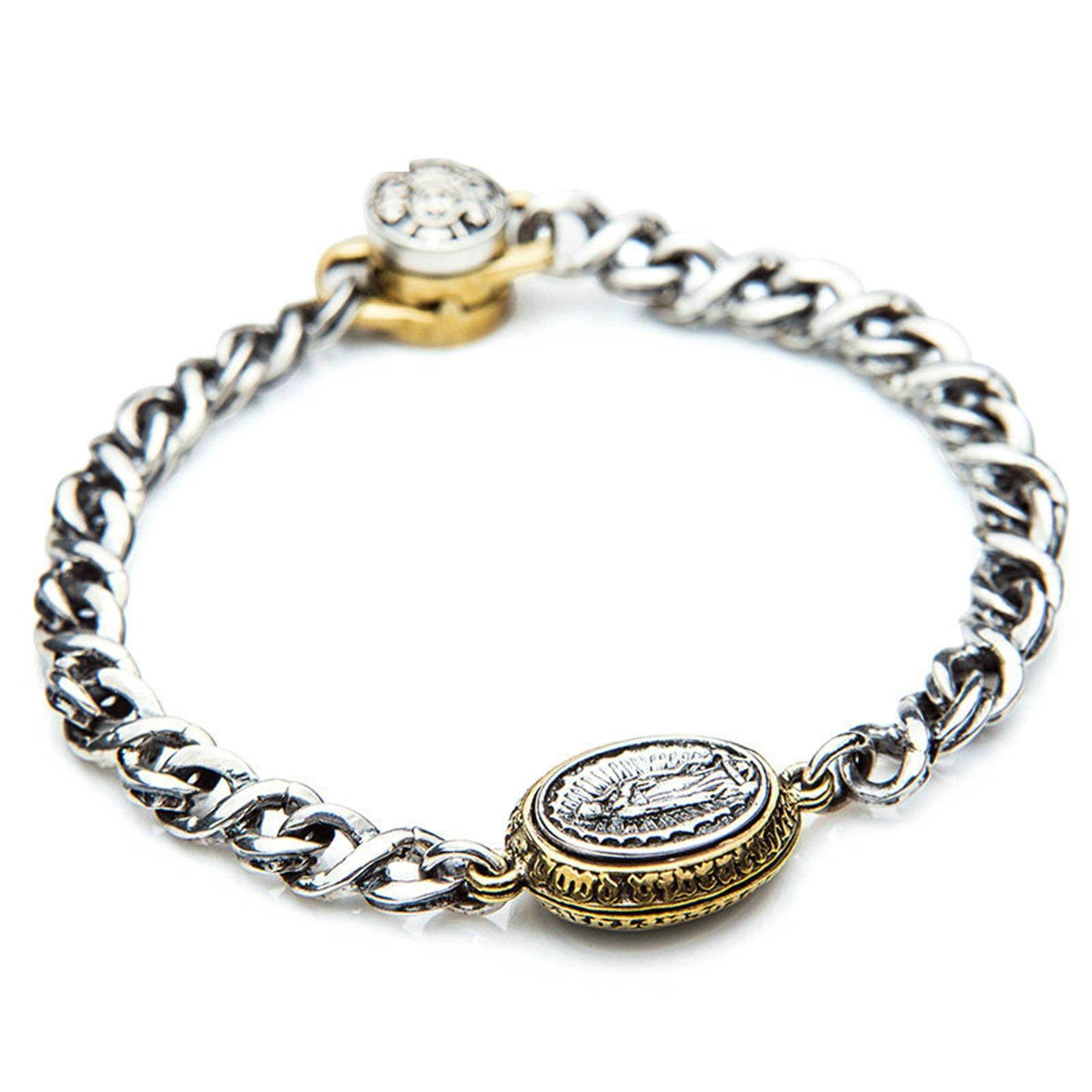 Daesar 925 Silver Bracelet For Men Engraved Oval Bracelet Silver Chain Length:17CM