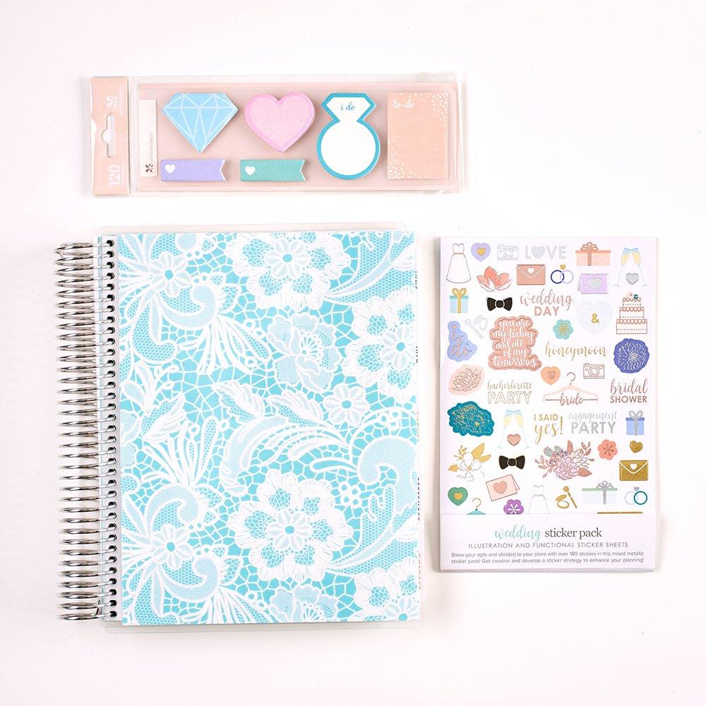 Erin Condren 12 Month (Aug-July) Wedding Planner Bundle - Robin Lace Cover - Platinum Coil & amp; Wedding Sticker Pack + Wedding Sticky Notes