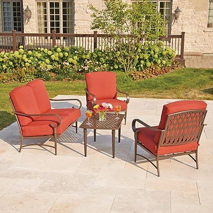 amazon com oak cliff 4 piece metal outdoor deep seating set with
