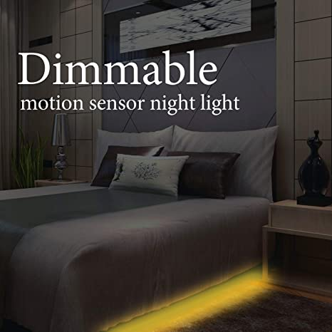 Under Bed Strip Light Motion Activated Dimmable Led Night Lighting With Motion Sensor Automatic Shut Off Timer For Indoor Double Bed Or Stairway 2