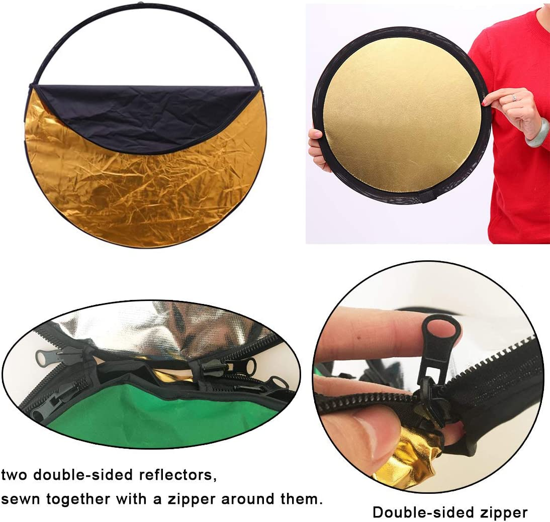 90x120CM 5 in 1 Portable Foldable Studio Po Collapsible Multi-Disc Light Pographic Lighting Reflector with Carrying Bag Victoria-ACX