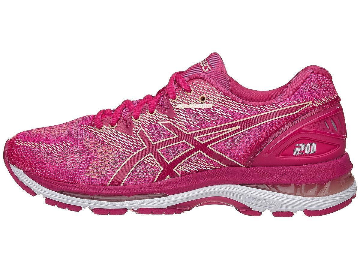 Bright pink pink Apricot ASICS Women's Gel Nimbus 20 Running shoes, Black White Carbon, 12 Medium US