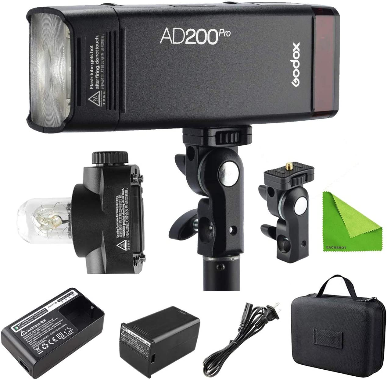 Godox AD200 200Ws 2.4G TTL Speedlite Flash Strobe 1//8000 HSS Monolight with 2900mAh Lithium Battery and Bare Bulb Flash Head to Provide 500 Full Power Flashes Recycle in 0.01-2.1 Second