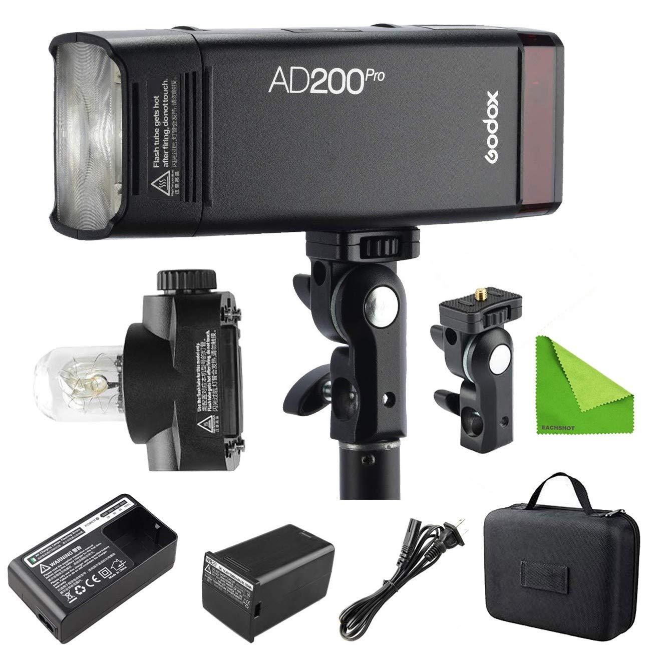 Godox AD200 Pro AD200Pro 200Ws 2.4G Flash Strobe, 1/8000 HSS, 500 Full Power Flashes, 0.01-2.1s Recycling, 2900mAh Battery, Bare Bulb/Speedlite Fresnel Flash Head by Godox