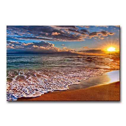 4daf70fc21f Amazon.com  Wall Art Painting Beach Sunrise White Wave Prints On Canvas The  Picture Seascape Pictures Oil For Home Modern Decoration Print Decor For  Items  ...