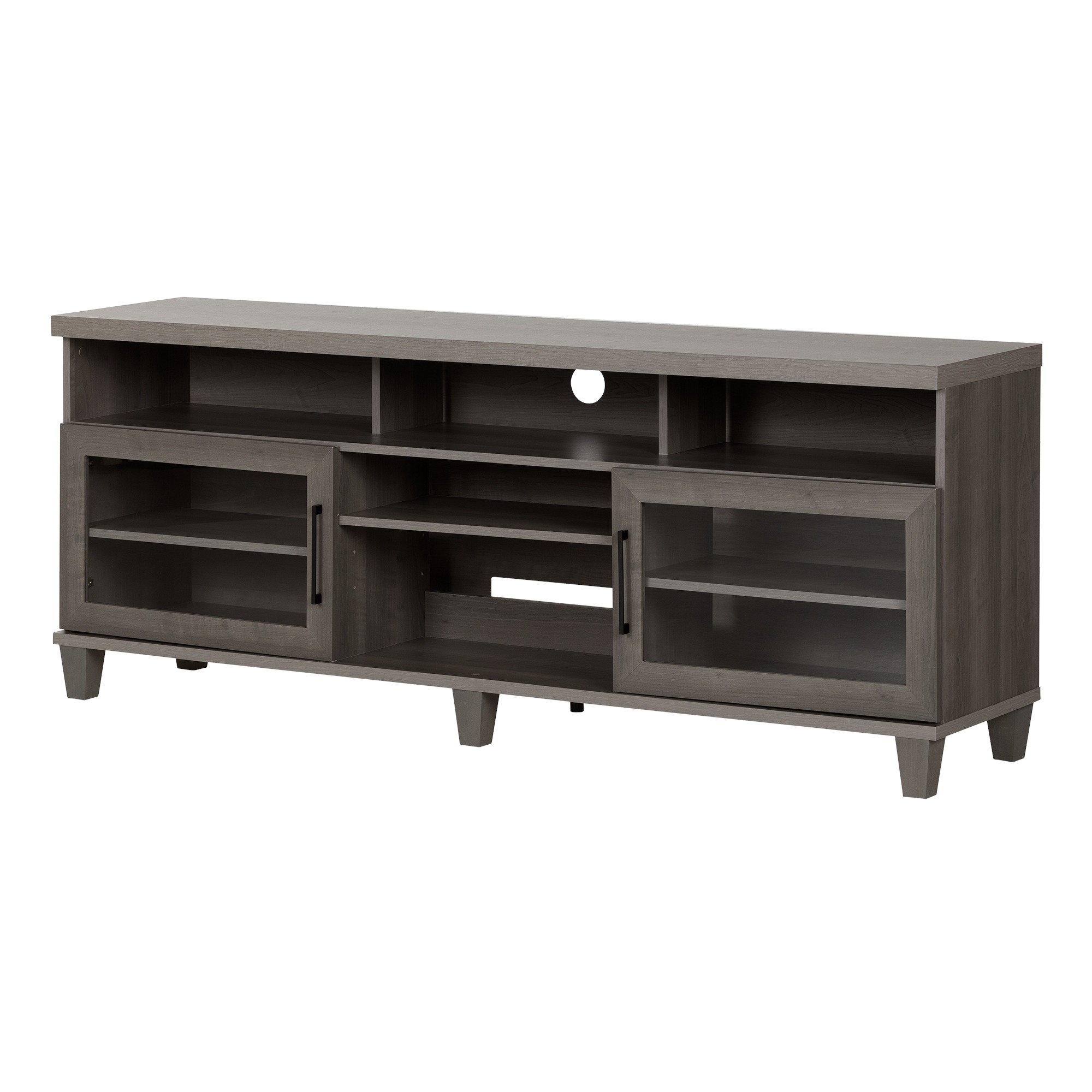South Shore Large TV Stand, Glass Doors, Fits TVs up to 75'', Gray Maple by South Shore