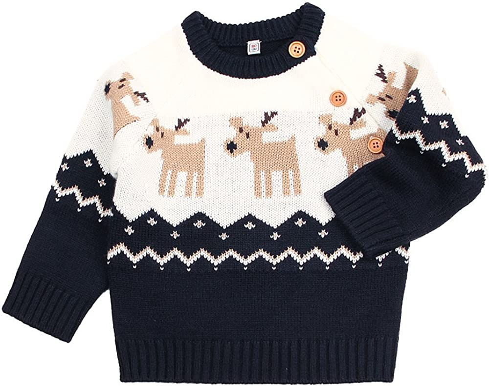 ASBB Baby Boys Sweatshirt Christmas Reindeer Sweaters Winter Warm Pullover Shirts 2T-8T