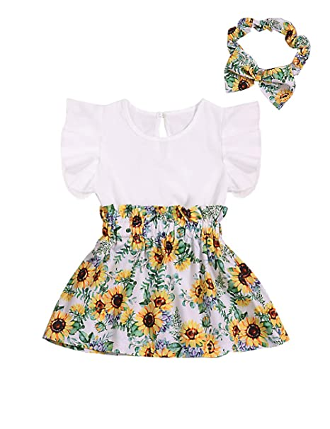 90a32777f75bd Xuuly Baby Girl Clothes Ruffle Sleeveless Summer Princess Tutu Sunflower  Dress with Headband Dress Set (