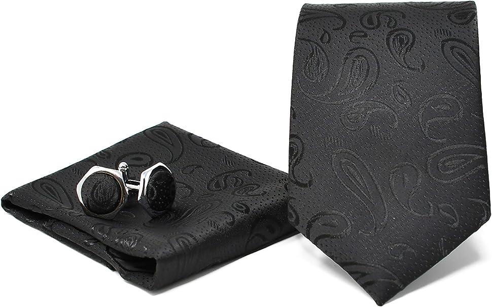 ideale per un regalo, un matrimonio, con un abito, in ufficio. Oxford Collection Cravatta da uomo Nero a Maglia Classica 100/% Seta Elegante e Moderna -