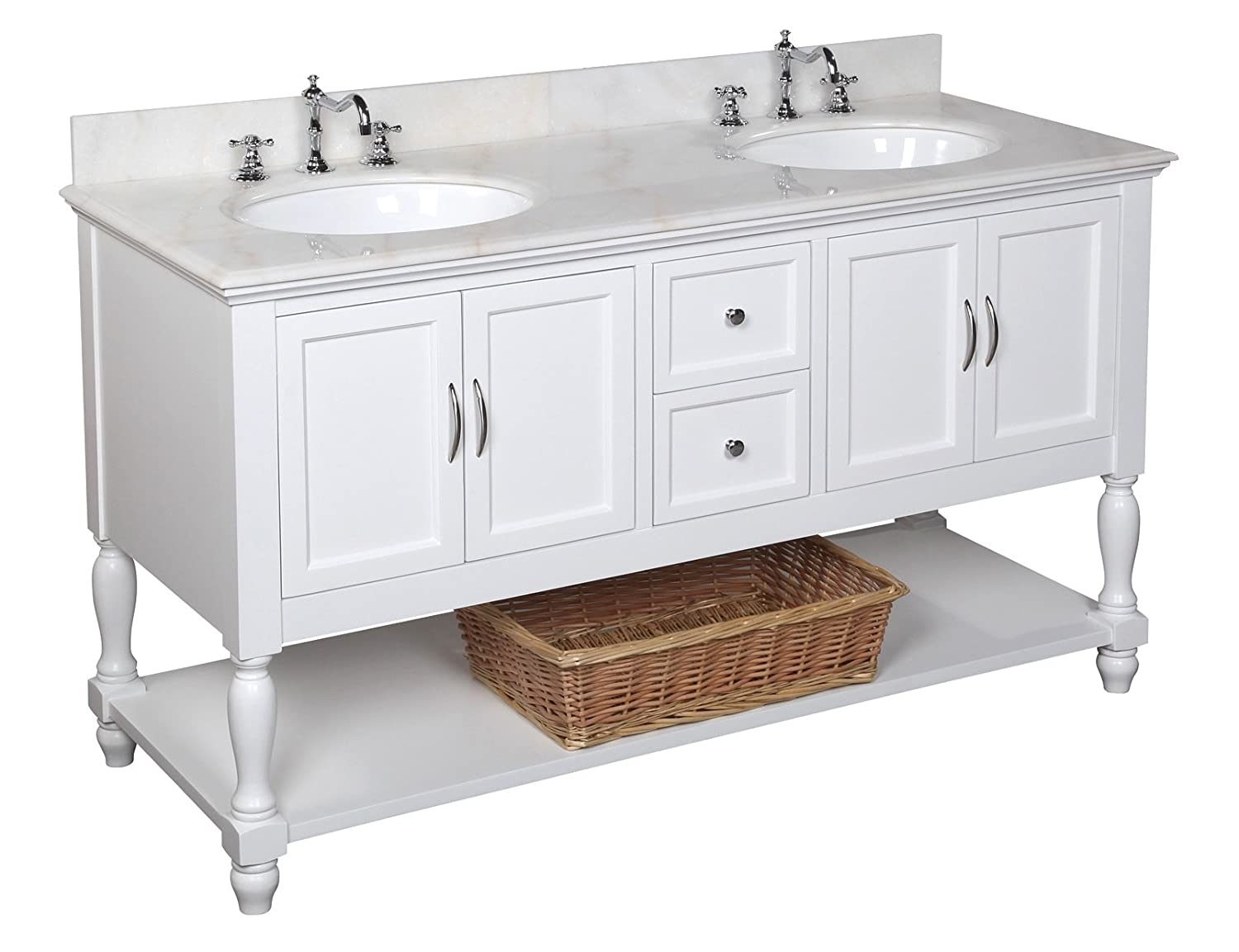 kitchen bath collection kbc667wtwt beverly double sink bathroom vanity with marble countertop cabinet with soft close function and undermount ceramic sink