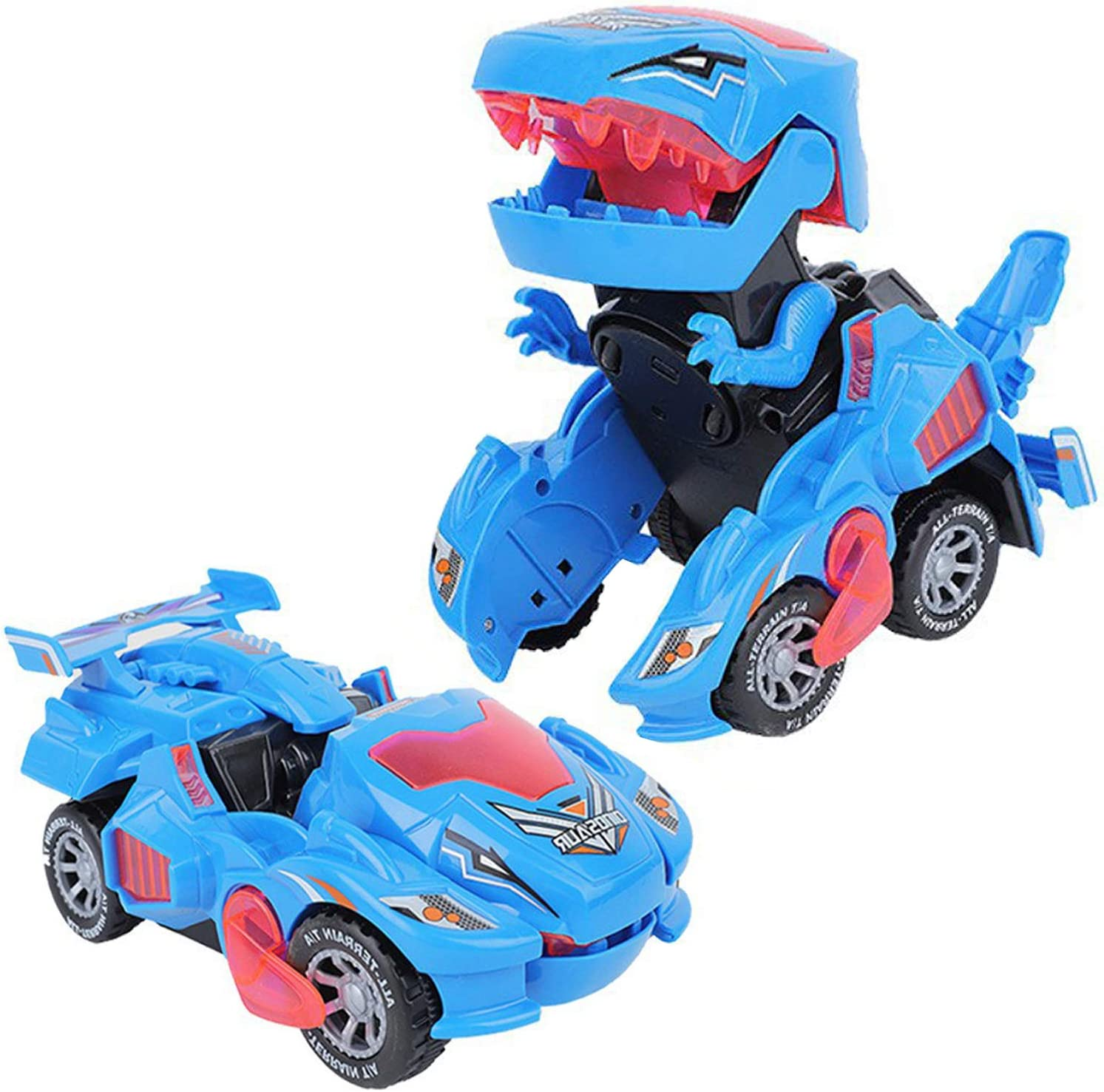 XILETAO 2 in 1 Transforming Dinosaur LED Car with Light and Music, T Rex Transformer Toys for 2 3 4 5 Year Old Boys, Christmas Birthday Gifts for Kids 3-5-7 (Blue)