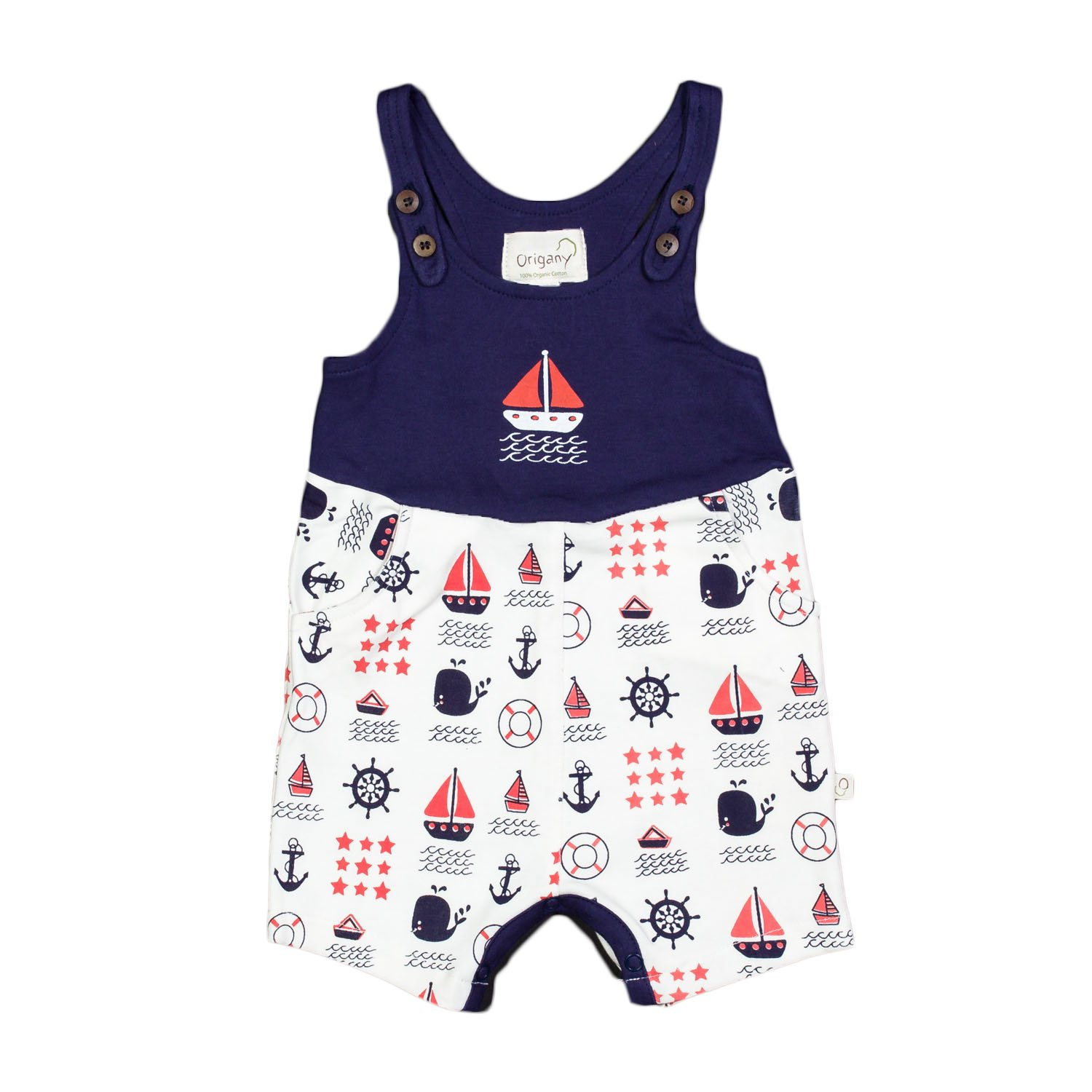 Origany Baby Boys Nautical Blue Chevron All Over Print Baby Short Romper