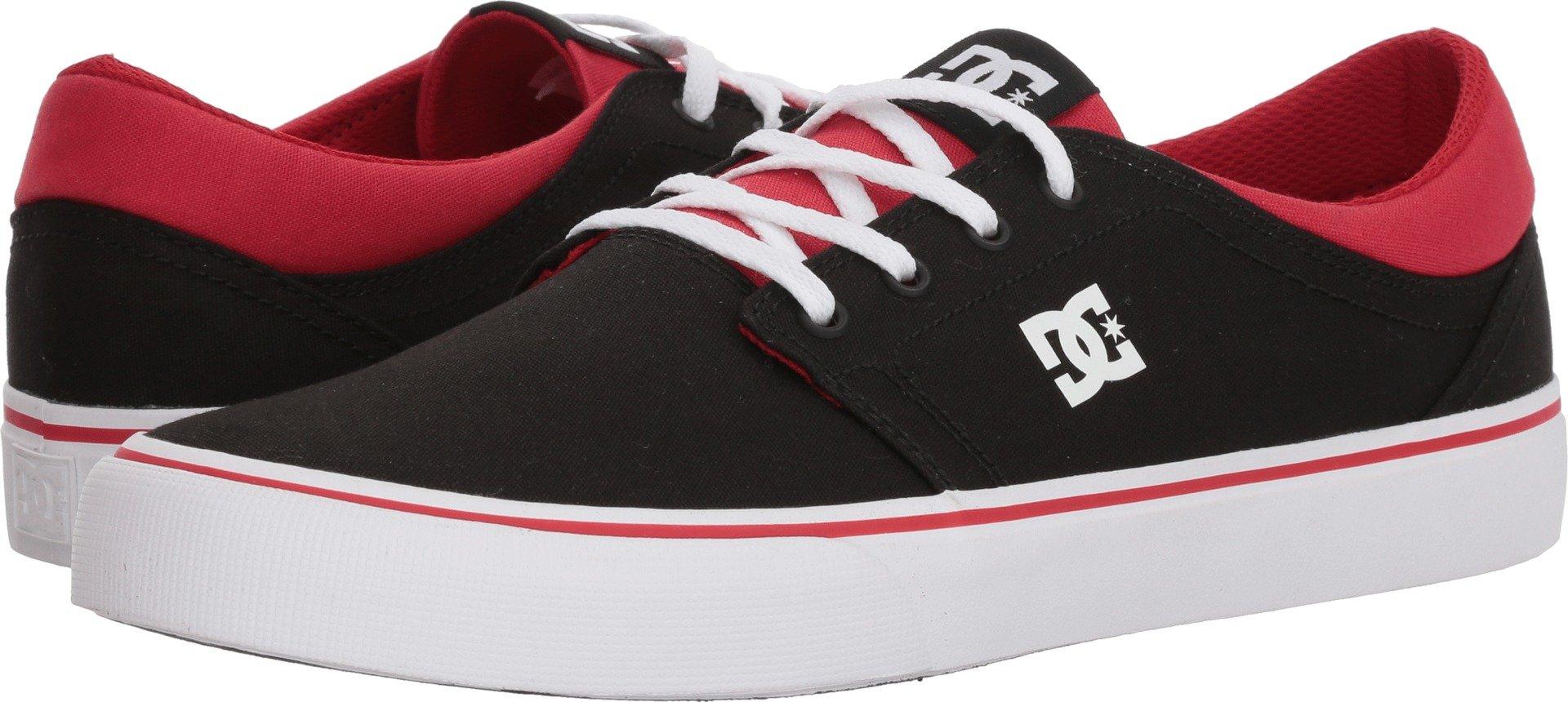 DC Men's Trase TX Skate Shoe, Black/Athletic Red/Black, 10.5D D US by DC