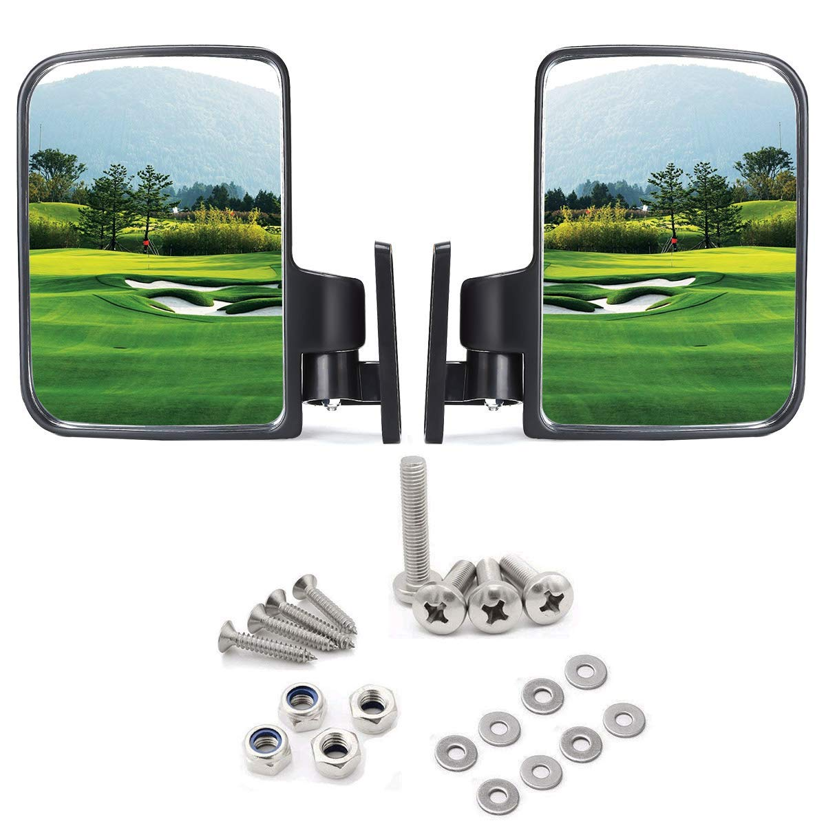 Golf cart Side Mirrors for Club Car EZ-GO Yamaha and Others by Red Hawk