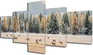 Wall Art Framed Canvas Prints Forest and Fantasy Deer Stretched and Framed Canvas Paintings Ready to Hang for Home Decorations for Living Room Wall Decor Gallery-wrapped Poster and Prints(50''Wx24''H)