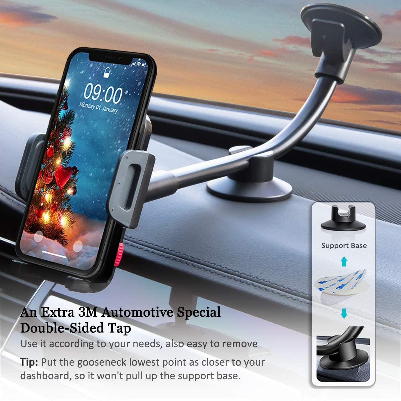 Nexus 5X//6P Samsung Galaxy S6 S5 LG HTC and Other Smartphones Universal Car Phone Mount Holder Windshield Long Arm Cell Phone Holder for iPhone 8//X//7//6S//6 Plus//5S//5