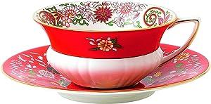 Wedgwood Wonderlust Teacup & Saucer Set Orient, 2 Piece, Crimson Jewel