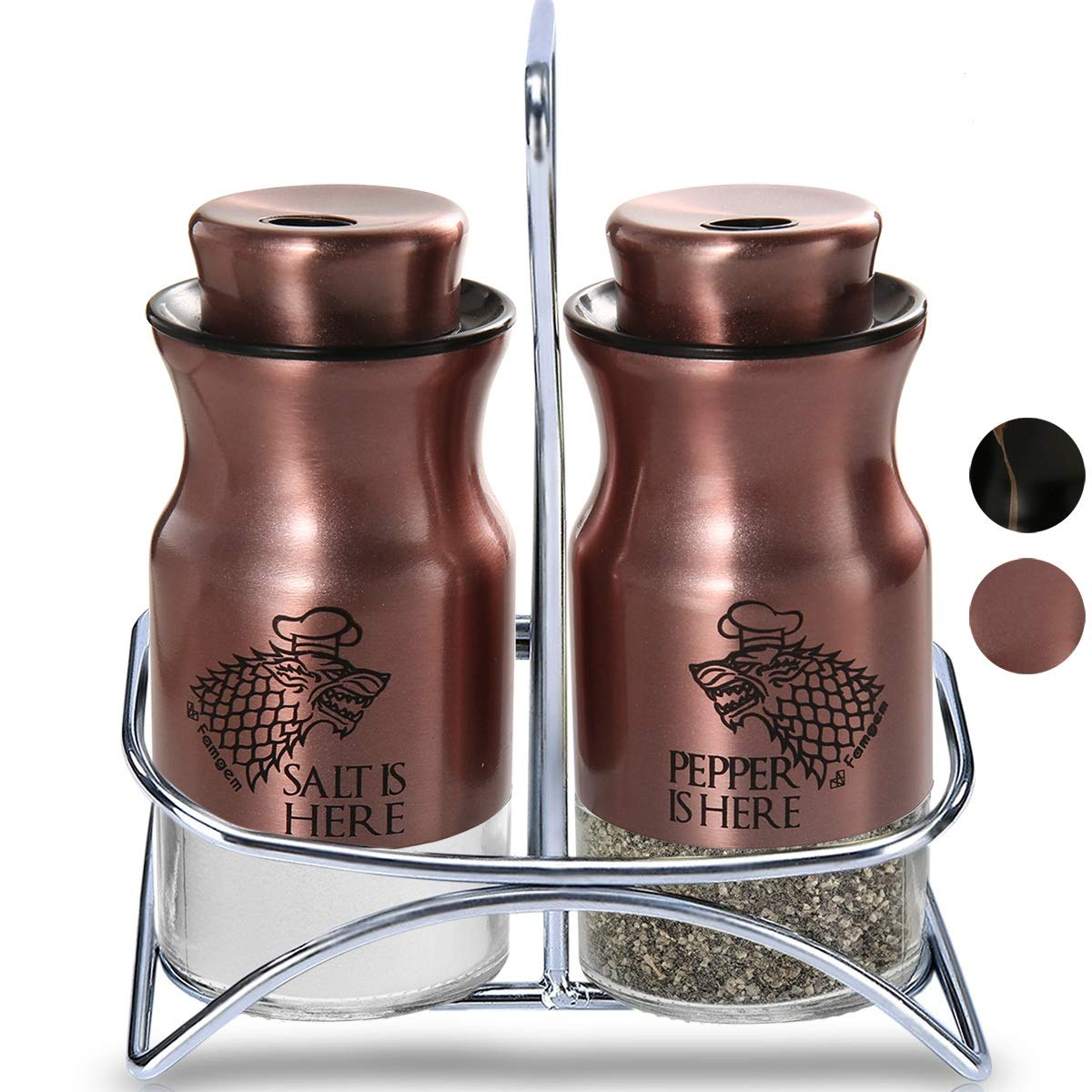 Salt and Pepper Shakers Famgem - GOT Stainless Steel Set with 3 Adjustable Pours