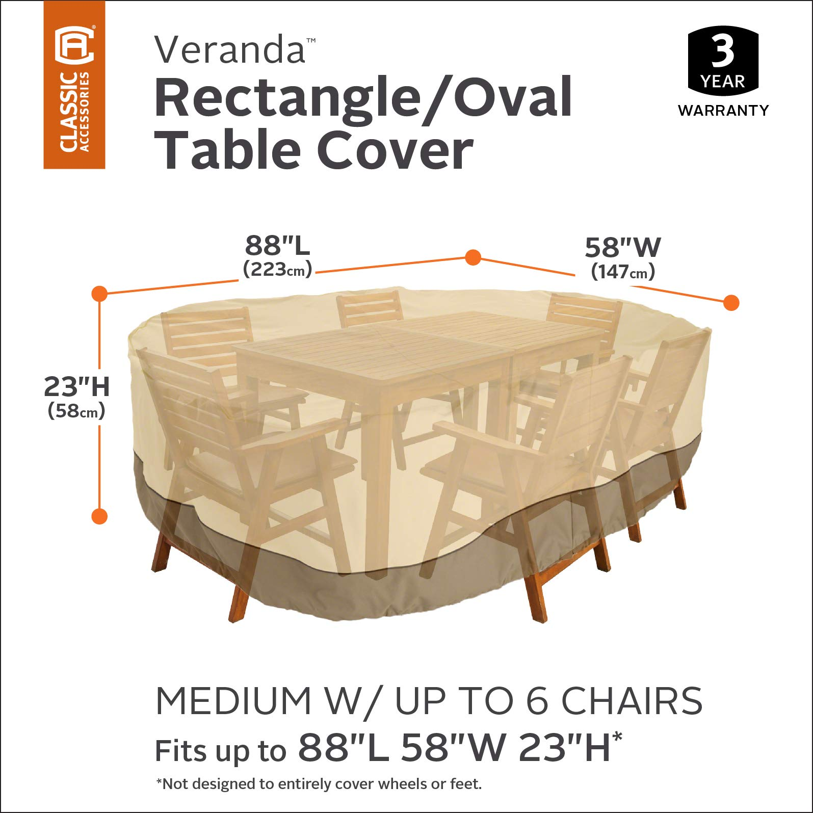 Classic Accessories Veranda Patio Table Cover fits Hampton Bay Oak Cliff 7-Piece Metal Outdoor Dining Set by Classic Accessories (Image #2)