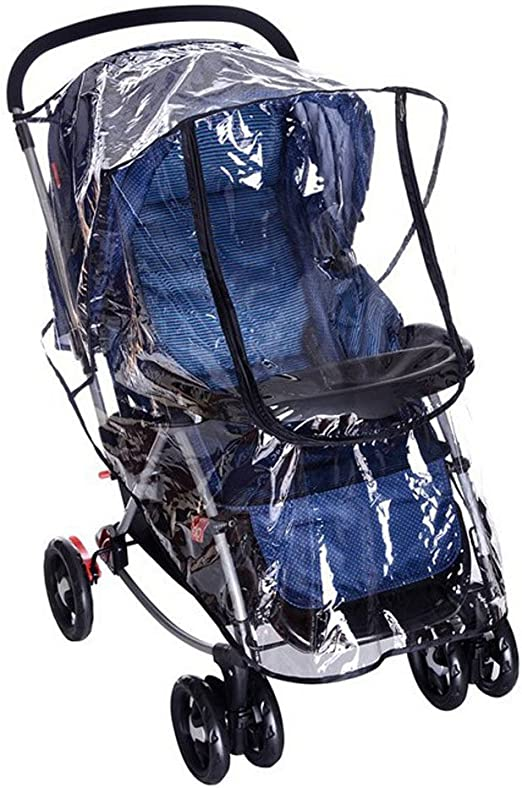 Stroller Rain Cover Universal Baby Stroller Weather Shield EVA Clear Zip Front Opening Waterproof Windproof Stroller Protector Accessories with 2 Pockets Behind