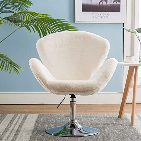 Phenomenal Faux Fur Vanity Chair Adjustable Soft Plush Shaggy Fluffy Swan Chair Fur Accent Chair For Dorm Living Room Bedroom White Evergreenethics Interior Chair Design Evergreenethicsorg