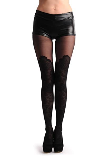 6de9ee13d5de1 Barocco Lace Style Over The Knee Faux Socks With Transparent Top - Tights  at Amazon Women's Clothing store: Pantyhose