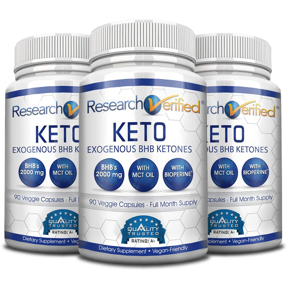 Research Verified Keto - Vegan Keto Supplement with 4 Exogenous Ketone Salts (Calcium, Sodium, Magnesium and Potassium) and MCT Oil to Boost Energy, Weight Loss and Focus in Ketosis - 3 Bottles by Research Verified
