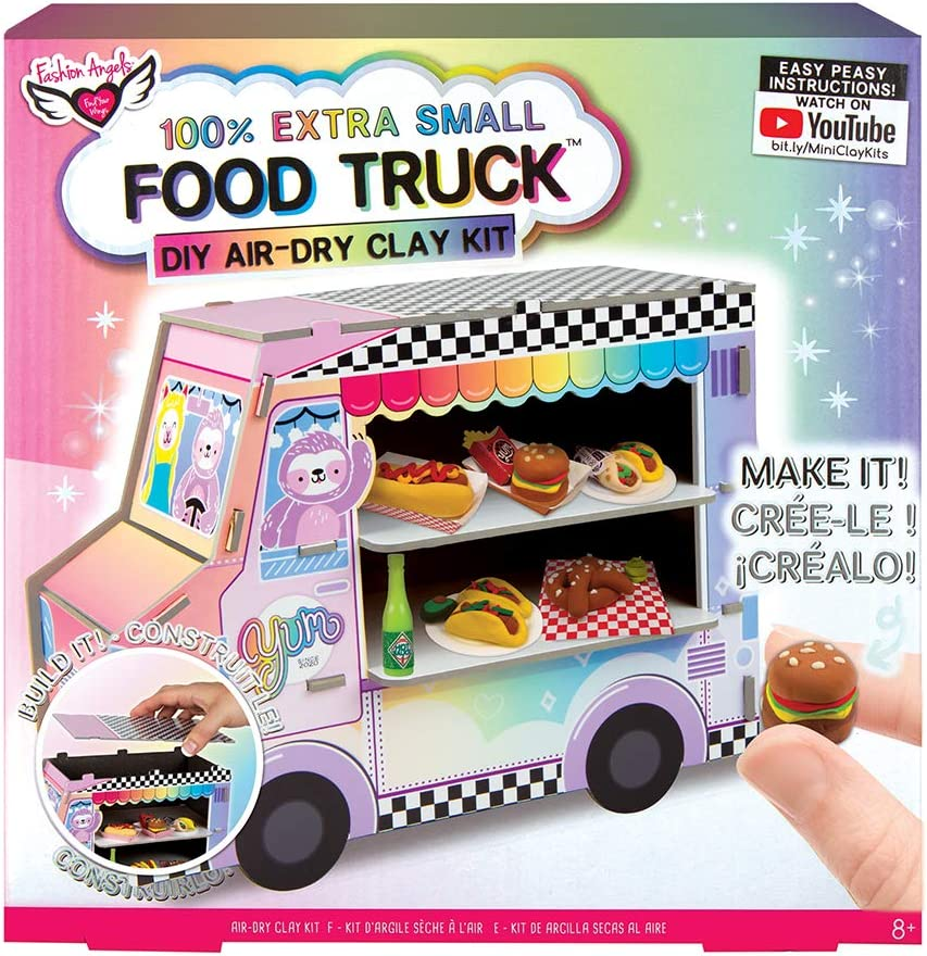 Fashion Angels 100% Extra Small Clay Food Truck Play Set,12527 Air Dry Mini Clay, Tiny Food Kit, Multi