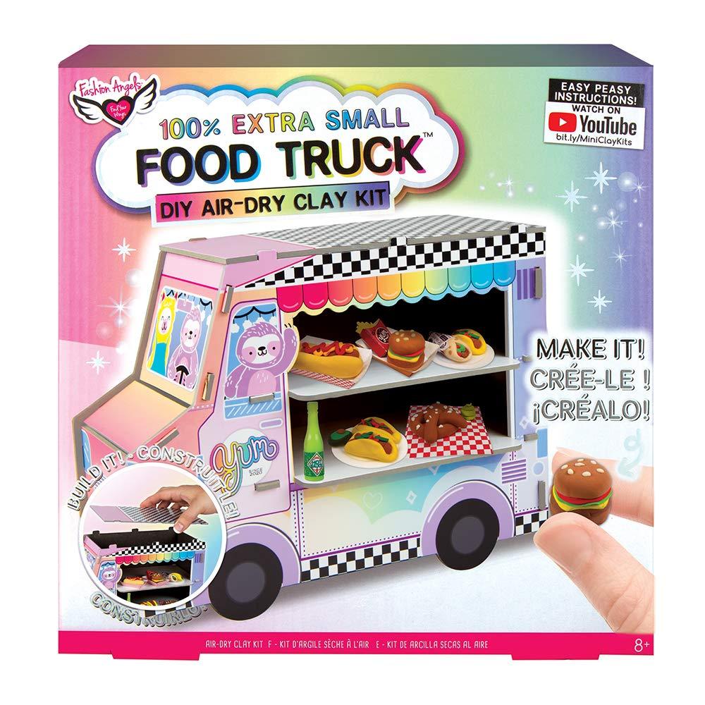Fashion Angels 100% Extra Small Clay Food Truck Play Set,12527 Air Dry Mini Clay, Tiny Food Kit, Multi