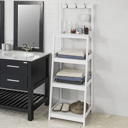 Haotian Ladder Shelf Coat Rack Storage Display Shelving Rack,Bathroom Shelf Storage,FRG279-W,White