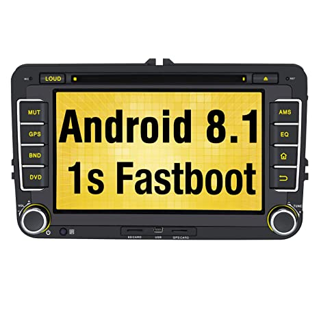 Pumpkin Autoradio GPS Android 8.1 para Coche VW Golf Seat Jetta Passat Polo Skoda Series soporta