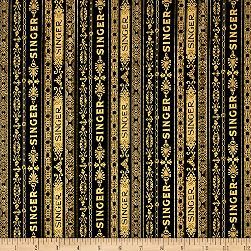 Robert Kaufman Sewing With Singer Metallic Stripe Fabric, Black, Fabric By The Yard