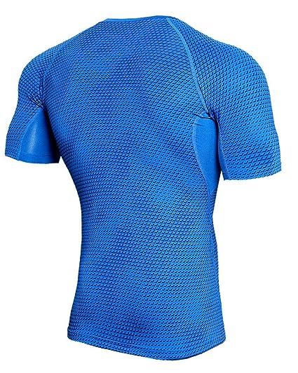 3f66c3be3dd82 Camiseta De Compresión Hombre Casual Fitness Deportes Manga Corta    Pantalones Cortos Compresión Conjunto  Amazon.es  Ropa y accesorios