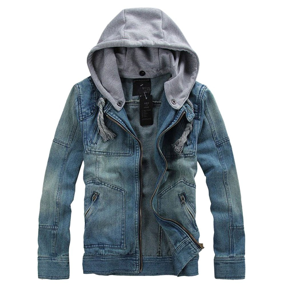 Men's Denim Hooded Jacket Button Down Classy Hoodies Casual Jeans Coats Outwear Detachable Hood,Large,Blue by Dora Bridal