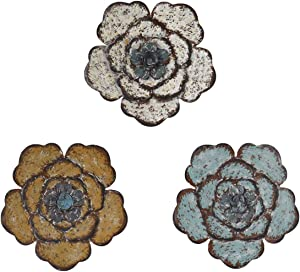 8 Inch Colorful Large Metal Flower Wall Art Multiple Layer Home Decor for Outdoor Bedroom Living Room Office Garden Set of 3