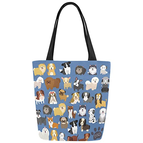 ac15ef9ac8df Amazon.com  InterestPrint Cute Dog Pattern Canvas Tote Bag Shoulder Handbag  for Women Girls  Shoes