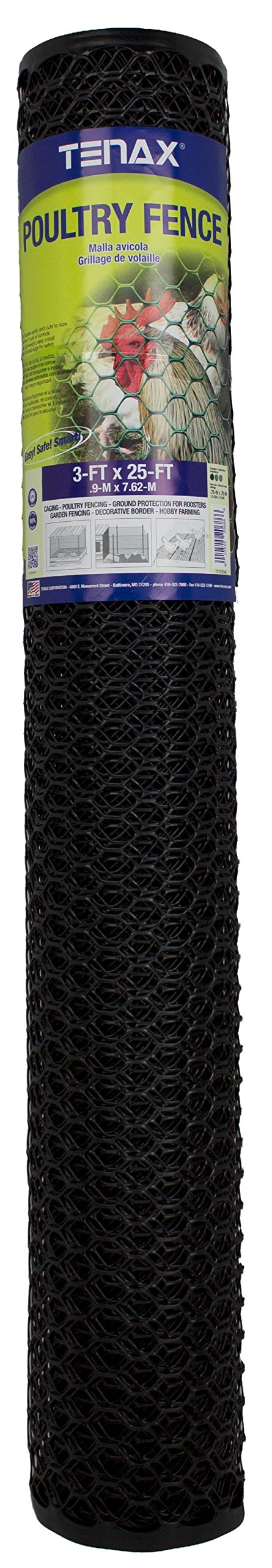Tenax Poultry Fence, 3 by 25-Feet, Black