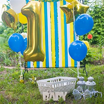 LFEEY 5x5ft Polyester Baby Boy 1st Birthday Backdrop Outdoor Hydrogen Balloons Cake Smash Decor Colorful Stripes