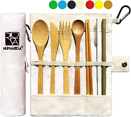Portable Utensils With Case 6 Pcs Travel Lunch Utensils Set Reusable Silverware Utensils Set Eco-Friendly Bamboo Silverware