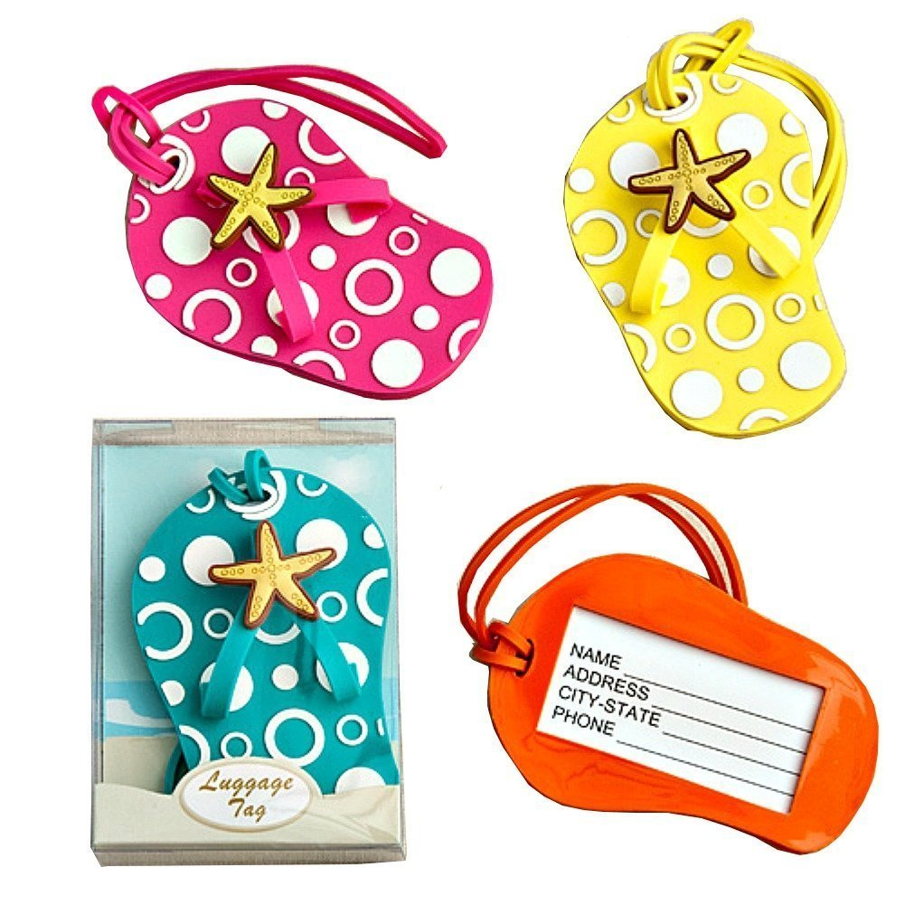 Colorful Unique Flip Flop Luggage Tags (Set of 4 in Blue, Yellow, Pink and Orange) Cinderella' s Slipper 12008
