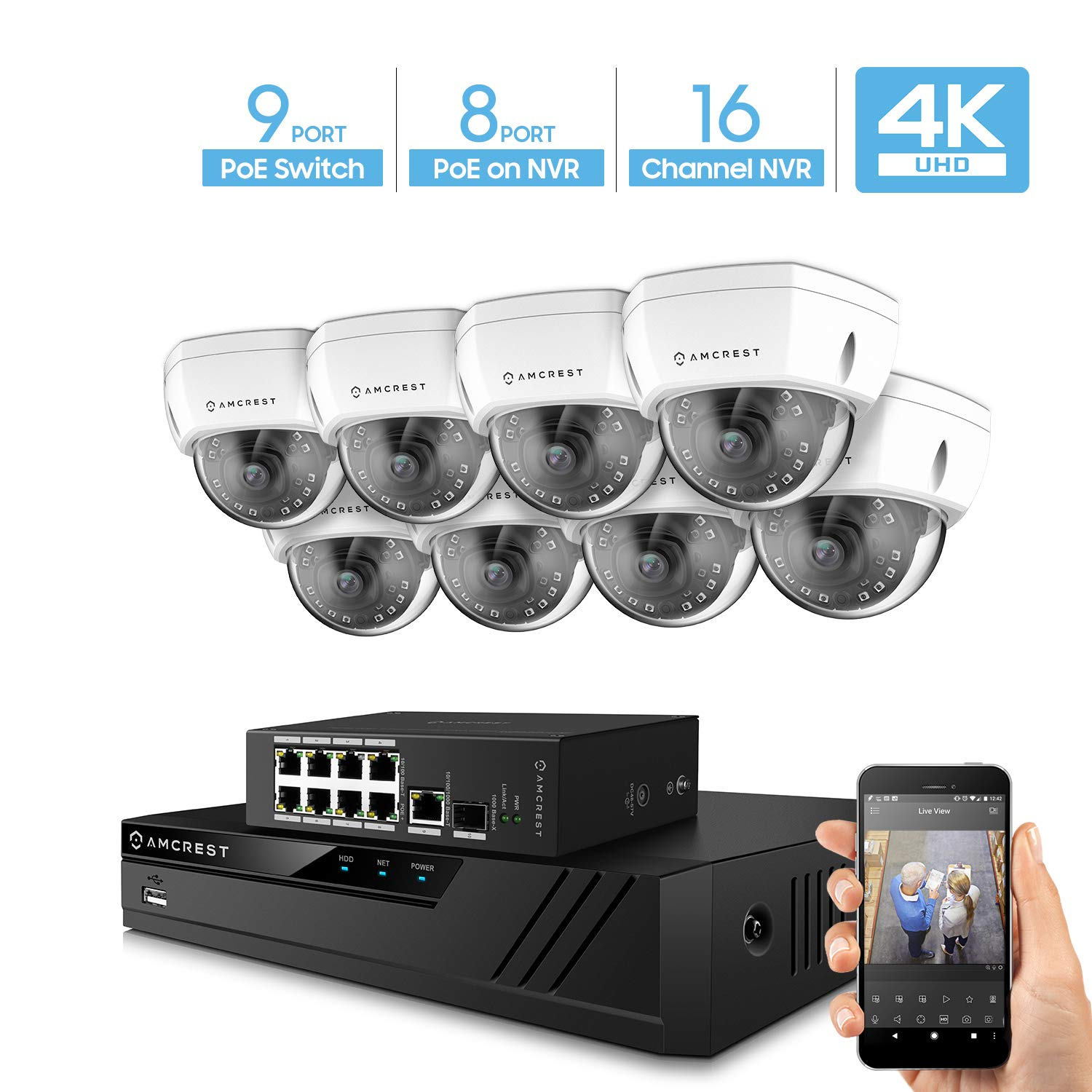 Amcrest 4K UltraHD Video Security Camera System w 4K 16CH PoE NVR, 8 x 4K Dome IP PoE Cameras, 9-Port PoE Switch w Gigabit Uplink, Hard Drive Not Included Supports up to 6TB White