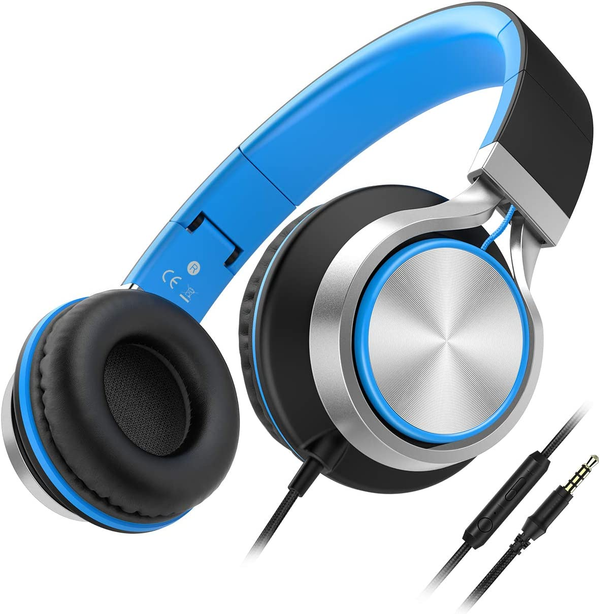 Wired Headphones Besom i77 Folding Stereo Bass Headset with Microphone and Volume Control Over-Ear Earphones for Adults Teens Running Sport Travel(Black/Blue)