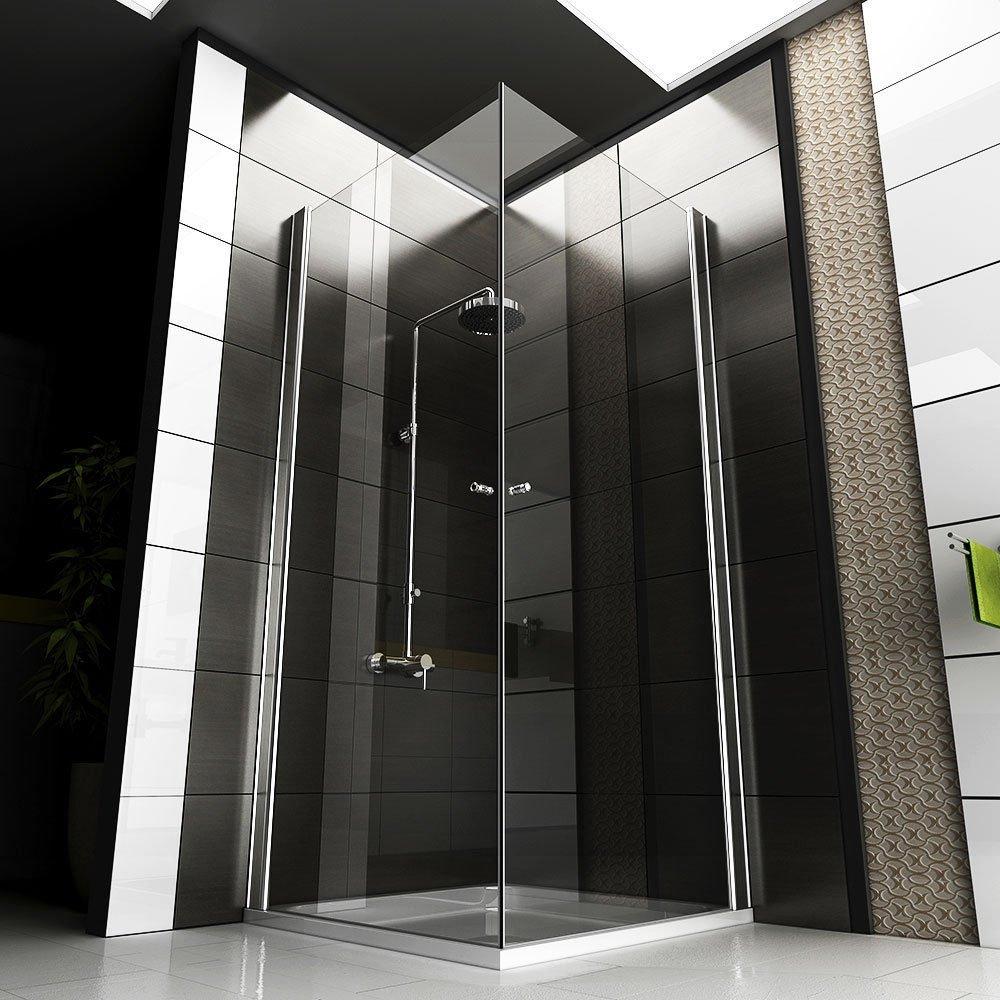Eck-Dusche Rahmenlose Glas Duschkabine Duschabtrennung 80x80x195 ... | {Duschabtrennung glas eckeinstieg 85}