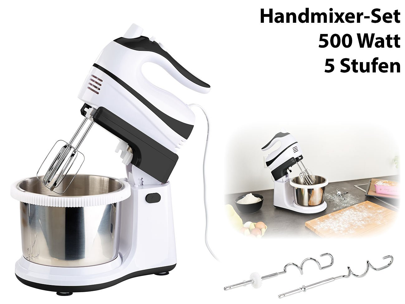 Amazon.de: Rosenstein & Söhne Küchenmaschine: Handmixer-Set ...