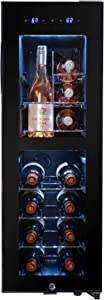 AKDY 16 Bottle Compressor Freestanding Wine Cooler Refrigerator | Dual Zone Touch Panel Temperature Control | Chrome Wire | Key Lock