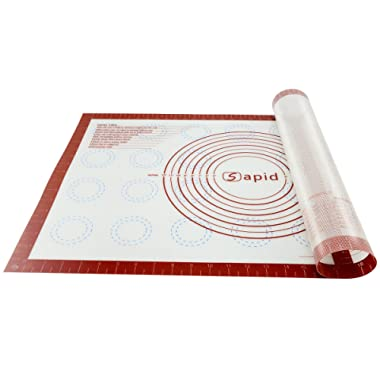 Sapid Non-stick Silicone Pastry Mat Macaron with Measurements(17.5''×27'') for Non-slip Dough Rolling Baking Mats, Table/Countertop Placemats and Fondant/Pie Crust/Cookie Sheet (1, Red)