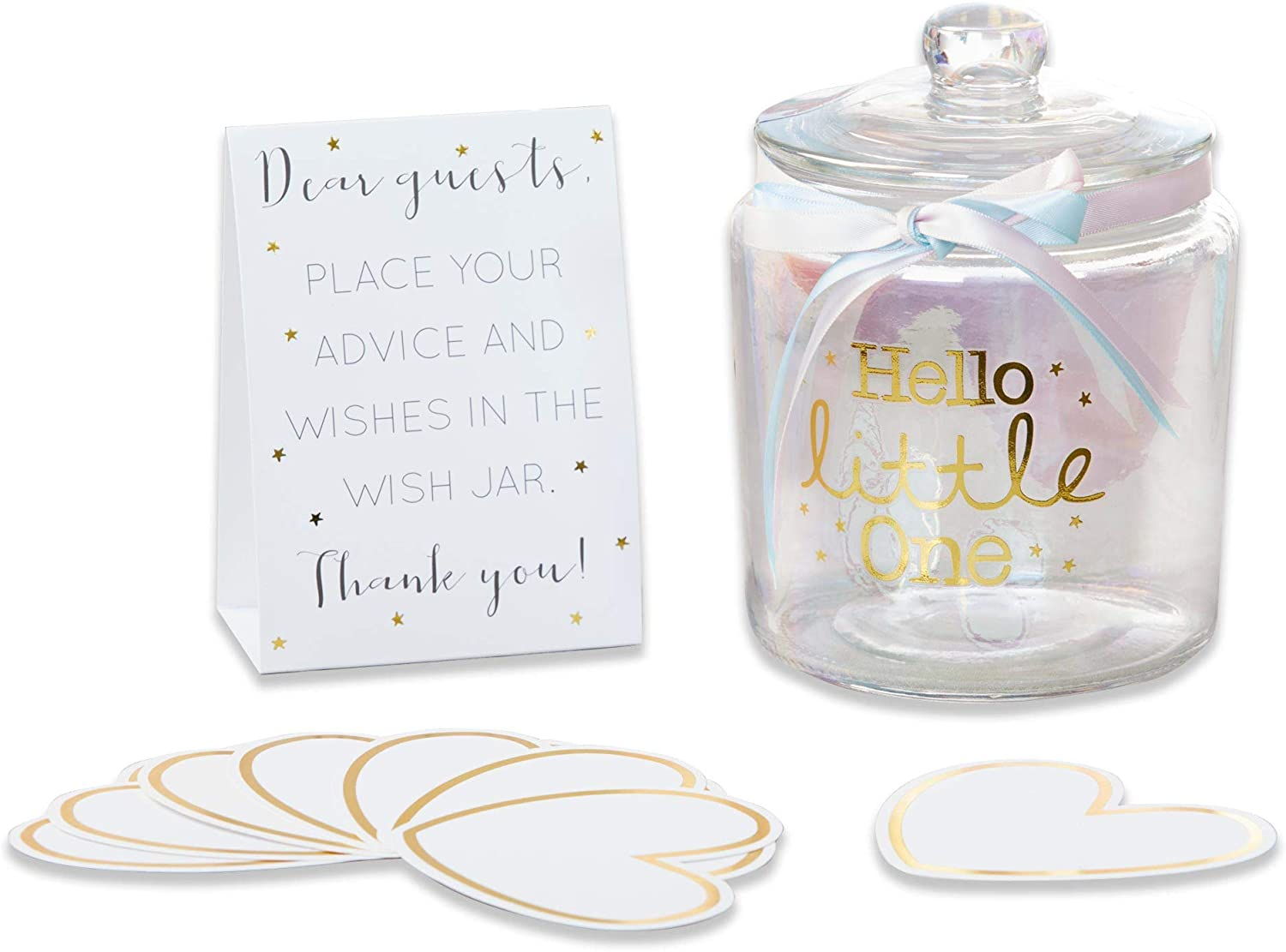 Kate Aspen Iridescent Baby Shower Wish Jar with 50 Heart Shaped Cards Guest Book, One Size, Clear