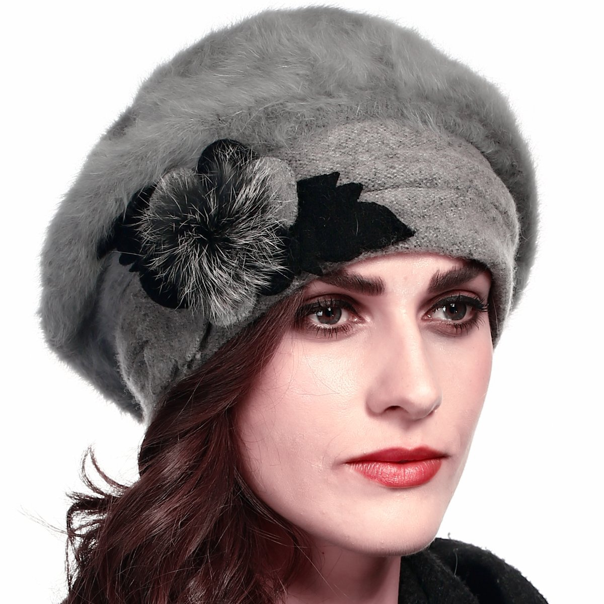 Retro Women Floral Trimmed Wool Blend Cloche Winter Hat (Angola-gray)